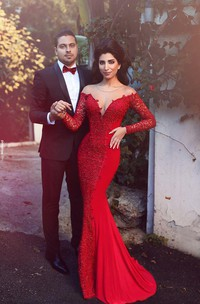 Sexy Red Long Sleeve Lace 2018 Evening Dress Mermaid Zipper Button Back