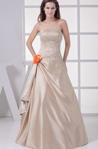 Sleeveless Side Draping A-Line Bodice Gown With Flower and Beading Embellishment