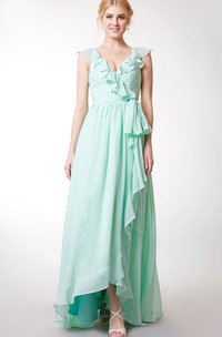 Tiered Short Sleeve V Neck Chiffon Gown With Draping