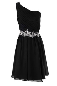 One-shoulder A-line Chiffon Dress With Pleats and Beadings