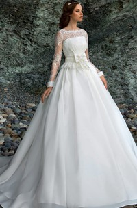 A-Line Long Bateau Long-Sleeve Low-V-Back Organza Dress With Lace And Bow