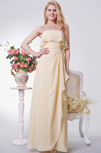 Strapless A-line Long Chiffon Dress With Side Draping