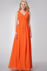 V-neck Pleated A-line Long Chiffon Dress With Ruched Waist