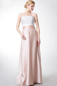 Strapless Sweetheart Long Satin Dress With Ruching