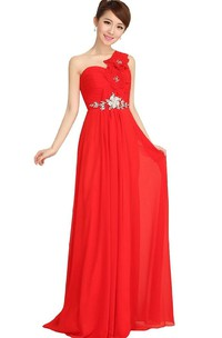 One-shoulder Long Chiffon Dress With Crystal and Flowers