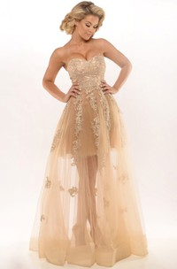 A-Line Appliqued Sweetheart Sleeveless Tulle Prom Dress