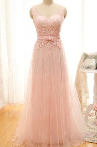 A-line Floor-length Sleeveless V-neck Tulle Dress