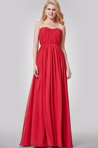 Elegant Ruched Strapless A-line Long Chiffon Dress