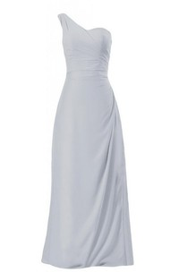 One-shoulder Long Chiffon Dress With Ruched Bodice