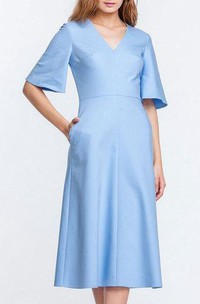 V Neck Bell Sleeve A-line Satin Knee Length Dress Blue