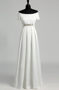 A Line Celebrity T-shirt Short Sleeve Wedding Dress