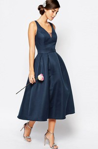 A-Line V-Neck Tea-Length Sleeveless Satin Bridesmaid Dress
