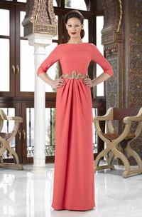 3-4 Sleeve Jewel Neck Jeweled Chiffon Mother Of The Bride Dress