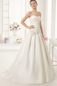 Sweetheart A-line Dress With Flower Sash And Crisscross Rushing