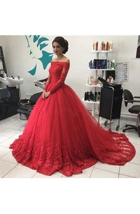 Ball Gown Lace Tulle Off-the-shoulder Long Sleeve Zipper Dress