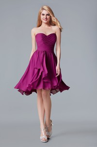 Sweetheart Chiffon A-line Short Dress With Ruched Bodice