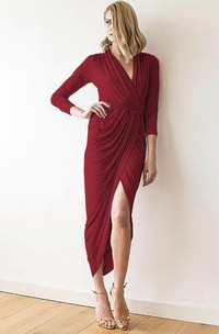 V Neck 3-4 Sleeve Sheath Jersey Tea Length Dress With Split