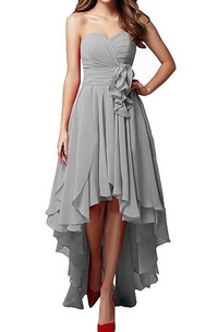 Silver Sweetheart High Low Dress With Layered Skirt