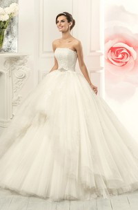 Ball Gown Floor-Length Strapless Sleeveless Corset-Back Tulle Dress With Appliques And Waist Jewellery