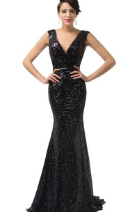 Sleeveless V-neck Mermaid Gown With Allover Sequins