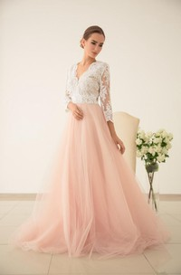 Tulle Wedding Pink Wedding Lace And Tulle Wedding Dres Wedding With Sleeved Dress