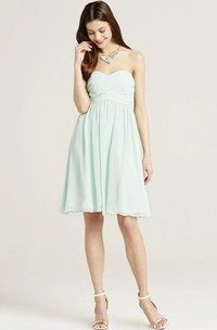 Mini Sweetheart Sleeveless Ruched Chiffon Bridesmaid Dress With Bow
