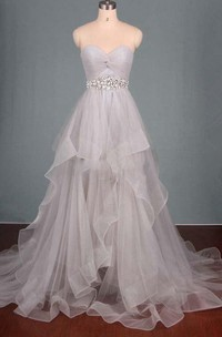 Dreaming Sweetheart Tulle Ruched Dress With Beading And Ruffles
