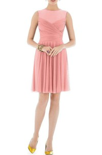 Illusion Jewel Neck Ruched Short Chiffon Dress