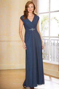 V-Neck Cap-Sleeved Long Mother Of The Bride Dress With Crystal Waist