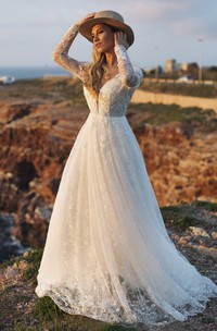 A-line Ethereal Illusion Long Sleeve Plunging Deep V-back Lace Wedding Dress