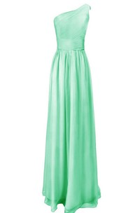 Pure One-shoulder Pleated A-line Gown With Ruched Band