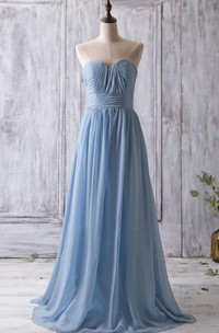 Sweetheart Pleated A-line Chiffon Long Dress With Bandage
