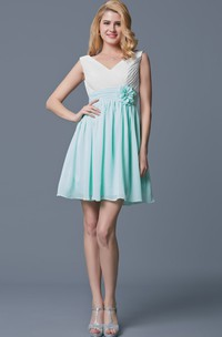 Sleeveless V Neck Empire Waist Short Chiffon Dress
