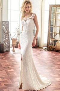 Square Long Split-Front Lace Wedding Dress With Sweep Train And Illusion
