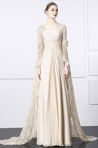 Square Sheath Bat Sleeve Lace Chiffon Unique Gown With Train