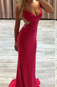 Modern Red Crystals Mermaid 2018 Prom Dress Sweep Train Zipper