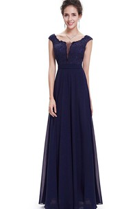 Cap-sleeved Scoop-neck A-line Long Chiffon Dress