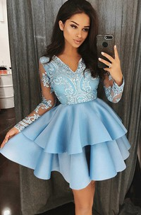 A-line Long Sleeve Satin Lace V-neck Short Mini Homecoming Dress