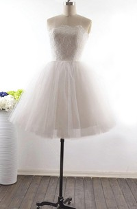 A-Line Short Straps Sleeveless Corset Back Straps Keyhole Tulle Lace Dress