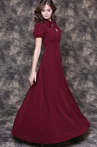 Bow Neck Puff Sleeve A-line Pleated Jersey Long Dress With Keyhole