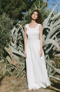 Ethereal Sheath Cap Sleeve Wedding Dress With Lace Top