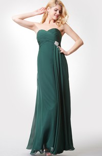 Scalloped-edge Neckline Long Chiffon Dress With Illusion Back