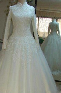 Vintage Beaded Lace High Neck Wedding Dresses with Long Sleeves
