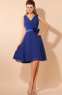 V-Neck Knee-Length Dress With Ruching and Flower