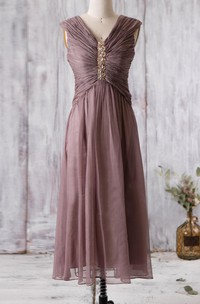 V Neck Cap-sleeved A-line Chiffon Long Dress With Beading