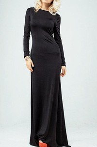 Bateau Long Sleeve Sheath Jersey Long Dress With Dropped Open Back