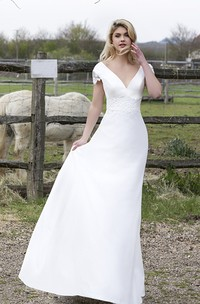 Plunging V-neck  With Floral Cap Sleeves Satin Bridal Gown With Appliques