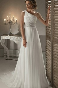 One Shoulder Bridal Gown With Craystal Embellishment Girdling