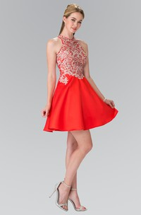 A-Line Short Jewel-Neck Sleeveless Satin Dress With Appliques And Beading