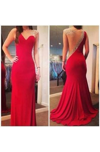 Long Fashion Sexy Mermaid Prom Gowns 2018 Red Sheer Back Scoop Chiffon Evening Dresses With Crystal Beaded